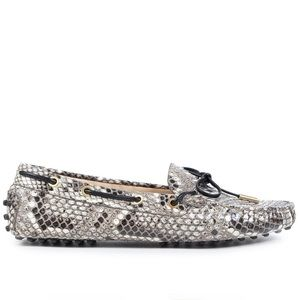 Tod's python gommino tie loafers women's 7.5/38